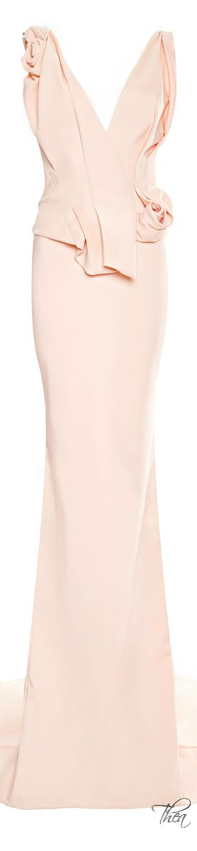 Marchesa ● Resort 2015, Pale Coral Crepe Column Gown