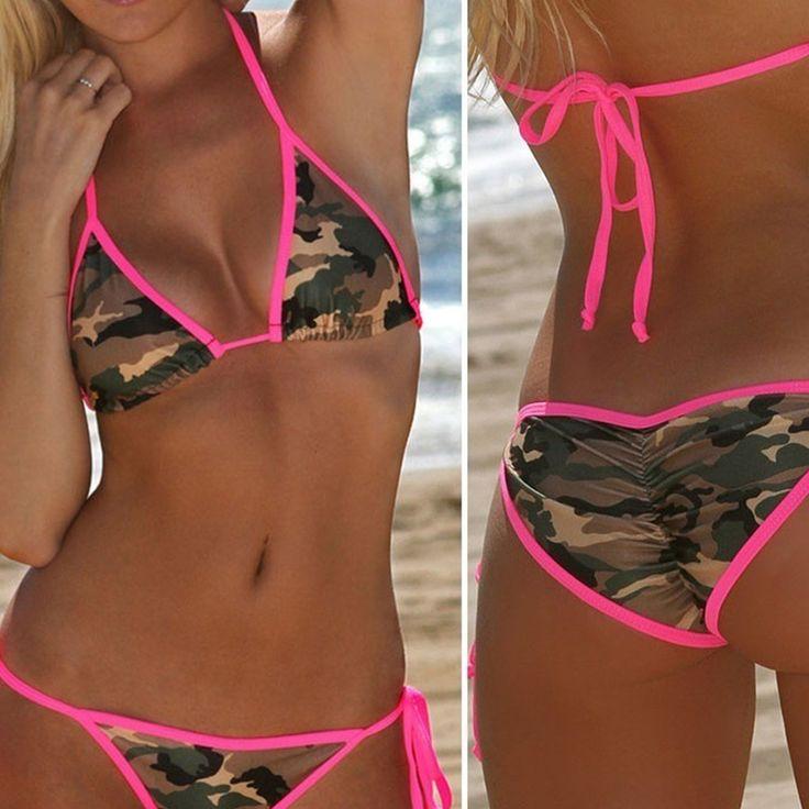 2017 Hot Sale Summer Women Sexy Camouflage Bikini Set Swimwear Swimsuit Lace Up Top Push Up Bra+Panties Sets B2Cshop