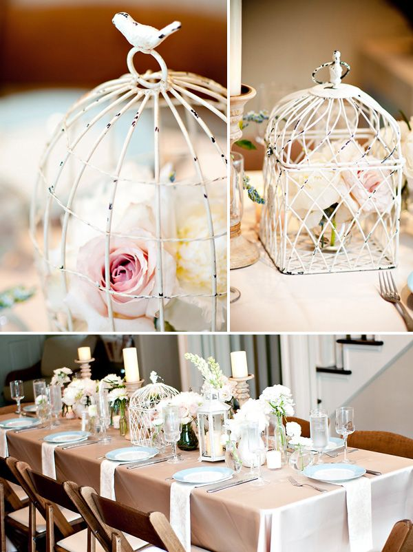 Bird cage center pieces  SO IN LOVE WITH THIS IDEA! también funciona para matrimonios y 15 años.
