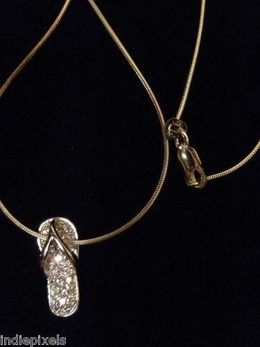 Sterling Silver W CZ Flip Flop Necklace