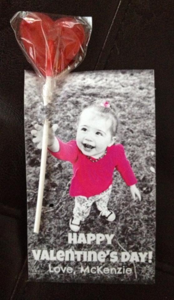Toddler Photo Valentine for School Party - McKenzie Jane - 19.5 months old.