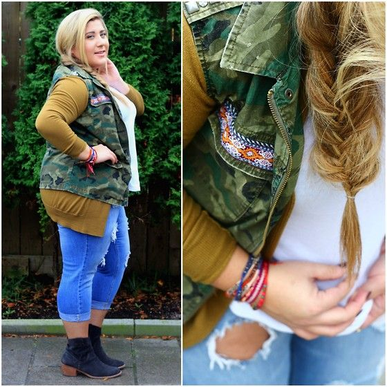 Get this look: http://lb.nu/look/7882228  More looks by Christina: http://lb.nu/bonafideblonde  Items in this look:  Urban Outfitters Camo Vest, Uniqlo Olive Green Cardigan, Forever 21 Ripped Jeans, Dolce Vita Booties   #fashion #casual #camo #rippedjeans #green #toronto #canada #blogger #plussize