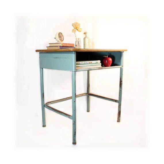 urban industrial furniture. vintage school desk metal repurposed furniture industrial bedside table end teal homeschool urban