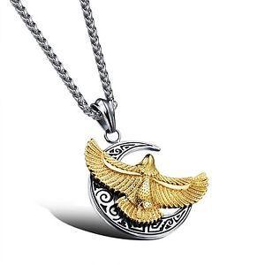 Mintik Jewelry Stainless Steel Men's Moon Eagle Biker Pendant Necklace gold New | eBay