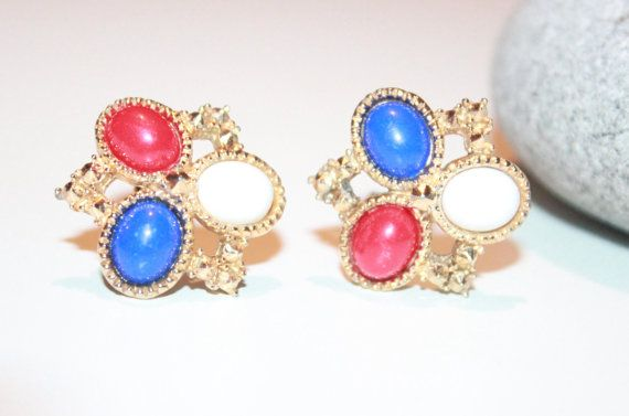 Vintage Sarah Coventry Jewelry, Red White Blue Lucite Clip on Earrings, Designer Vintage on Etsy, $8.97 CAD