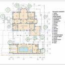 Элитная загородная русская усадьба в классическом стиле. Дом с подземным переходом на прямоугольном участке в сосновом лесу, бассейн, гараж на две машины.