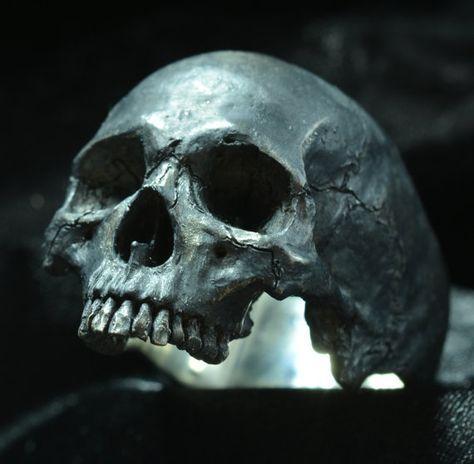 Skull ring Large half jaw silver mens skull biker masonic rock n roll gothic handmade jewelry .925 etsy