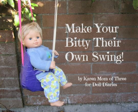 Make a swing for bitty baby or other play baby dolls for 5 inch baby dolls for crafts