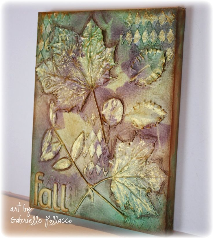 Mixed Media Leaf Canvas ~ Video Tutorial by Gabrielle Pollacco using Fall leaves and Shimmerz Paints....easy peasy!
