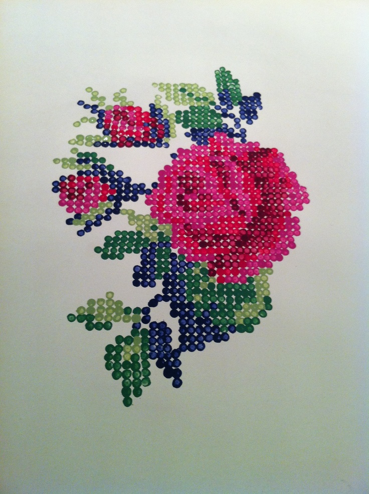 Cross stitch painting using cotton buds