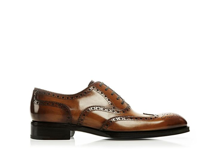 Edward Burnished Leather French Brogue Wingtip Lace-Up | Shop Tom Ford Online Store