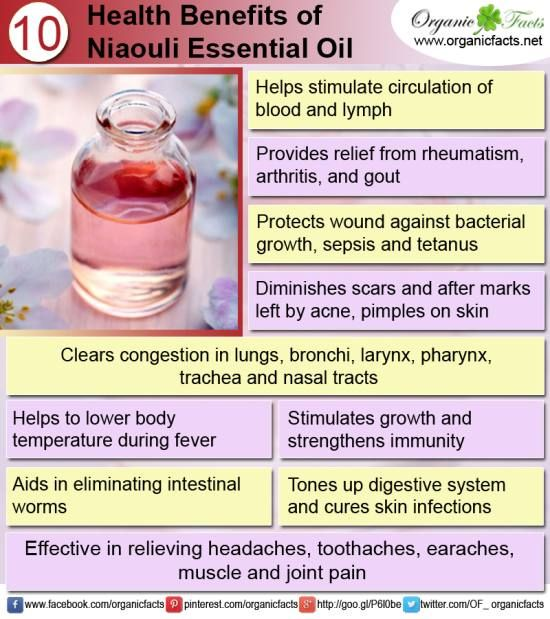 The health benefits of Niaouli Essential Oil can be attributed to its properties like analgesic, anti rheumatic, anti septic, bactericidal, balsamic, cicatrisant, decongestant, expectorant, febrifuge, insecticide, stimulant, vermifuge and vulnerary.