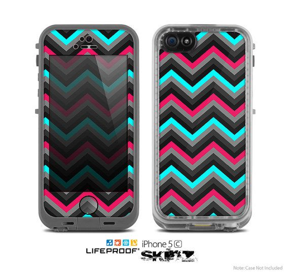 The Sharp Pink Teal Chevron Pattern Skin for the Apple iPhone 5c LifeProof Case on Etsy, $9.99