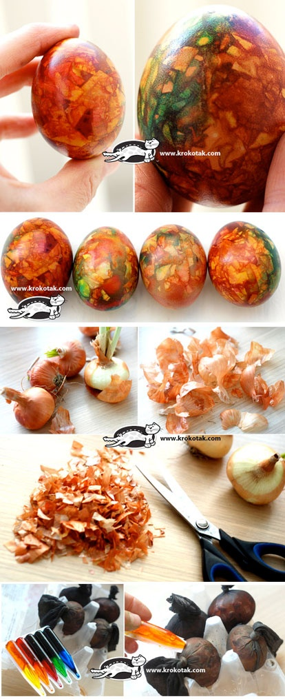 Marbled EGGS with Onion Skin Pieces. coloured eggs