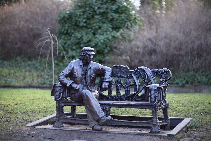 Memorial to comedian and writer Spike Milligan at Stephens House and Park. Milligan lived for several years in Woodside Park, Finchley, and at The Crescent, Barnet, and was a contributing founder and strong supporter of the Finchley Society. The Finchley Society raised funds to commission this statue of him cast in bronze by local sculptor John Somerville.