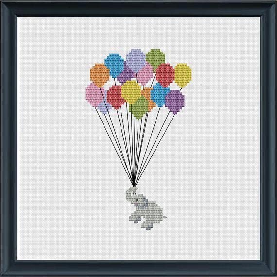 Flying Elephant Cross Stitch Pattern PDF DMC by KnitSewMake