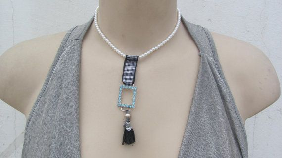 Pearls Pendant / Blue Strass Jewelry / Spring necklace by CANDYlook4u on Etsy
