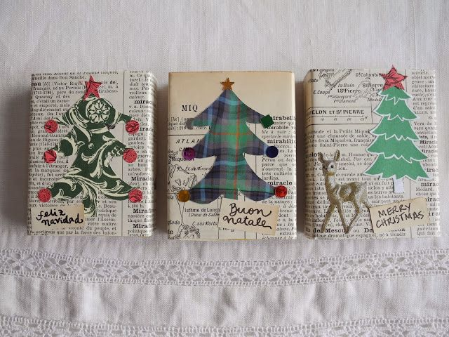 Paste images, hand-drawn or from magazines, on top of newspaper-wrapped gifts.