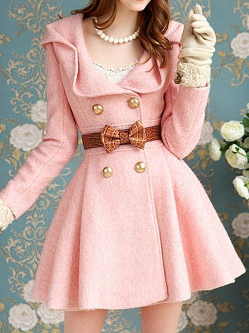 Vintage pink pea coat with gold buttons and bow belt