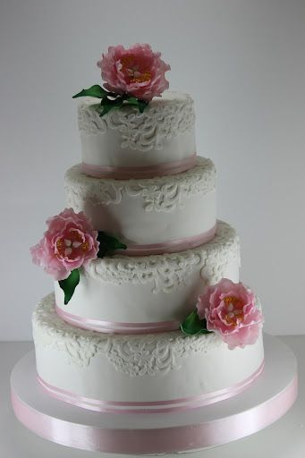 viorica's Cakes: Wedding Cake White Lace and pink peonies