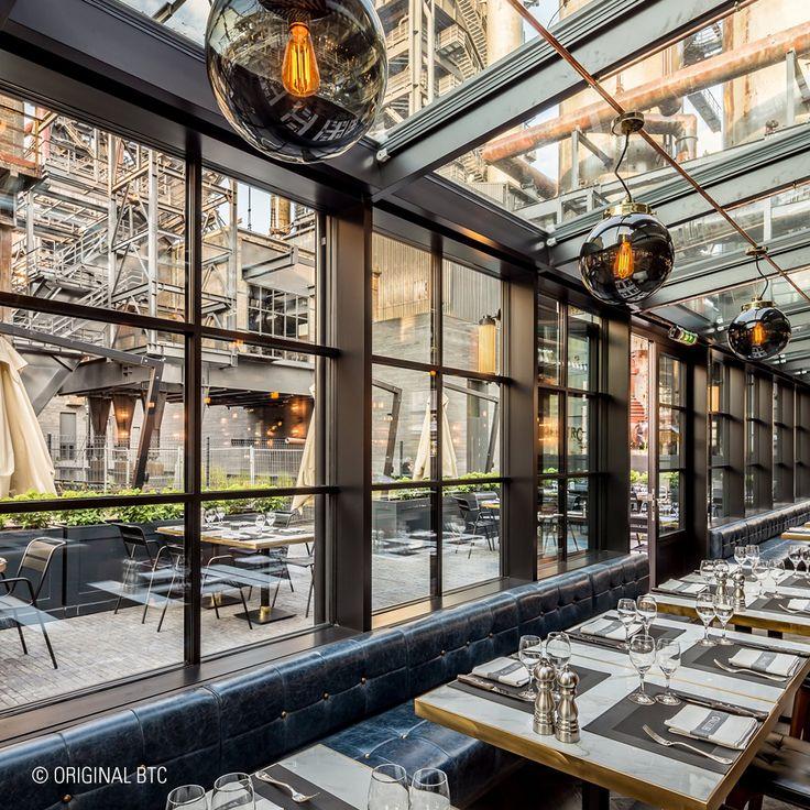 Original BTC's Globe Pendants add individual character to wide, open interiors, as seen at the Beeftro Restaurant in Luxembourg. #restaurantinteriors #lighting #interiors