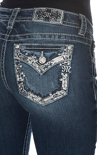 Miss Me Women's Embroidered Edge with Sequins Open Flap Pocket Boot Cut Jeans | Cavender's