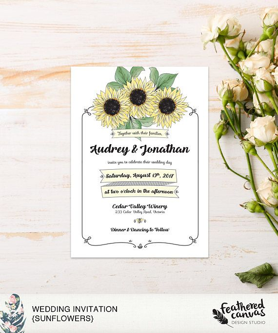 Check out this item in my Etsy shop https://www.etsy.com/ca/listing/566581870/diy-wedding-invitation-sunflowers
