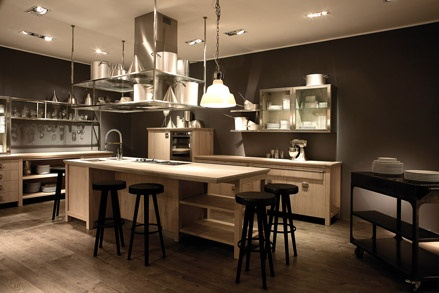 "Extremely modern kitchen project which at the same time is characterized by a vintage spirit–that is reflected in materials,treatments and finishes – that has been in Diesel's DNA all along. Diesel Social Kitchen is the extension of Diesel's philosophy applied to home collection,defined as ""premium Casual Living"", where the energy of a party enters into the kitchen. The result: an environment that matches modernity and comfort and marries the kitchen laboratory to the space to entertain…"