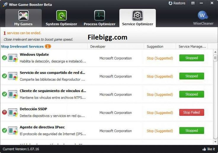 Free Download Software Wise Game Booster 1.32 - filebigg.com