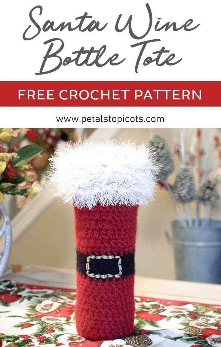 Felted Santa Wine Bottle Tote Crochet Pattern Crochet Patterns Crochet Gifts Christmas Crochet Patterns