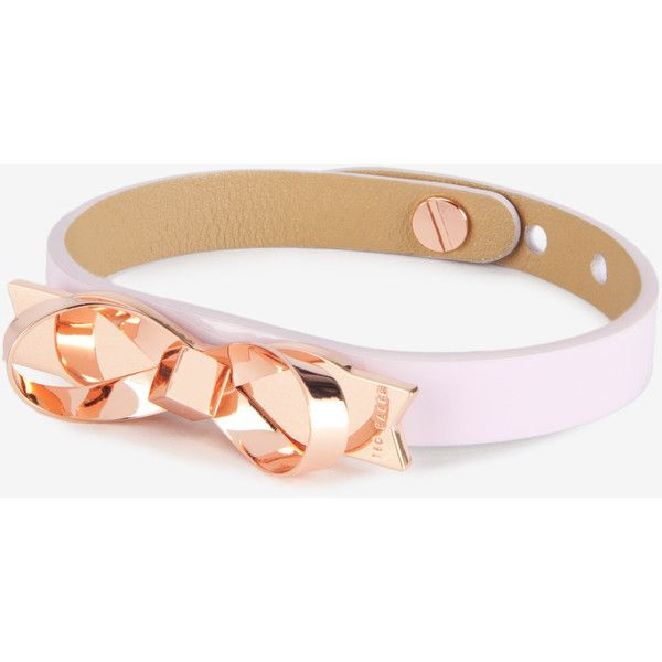 Ted Baker Leather loop bow bracelet ($49) ❤ liked on Polyvore featuring jewelry, bracelets, pale pink, ted baker jewellery, ted baker bangle, leather bangles, bow jewelry and bow bangle