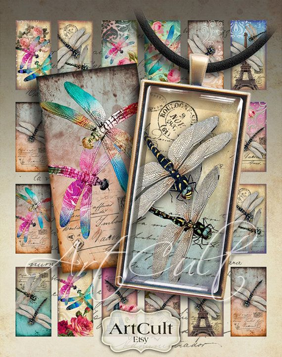 DRAGONFLY DOMINOES - 1x2 inch Digital Collage Sheet Printable Art Cult Downloads for pendants magnets bezel cabs paper craft scrapbook