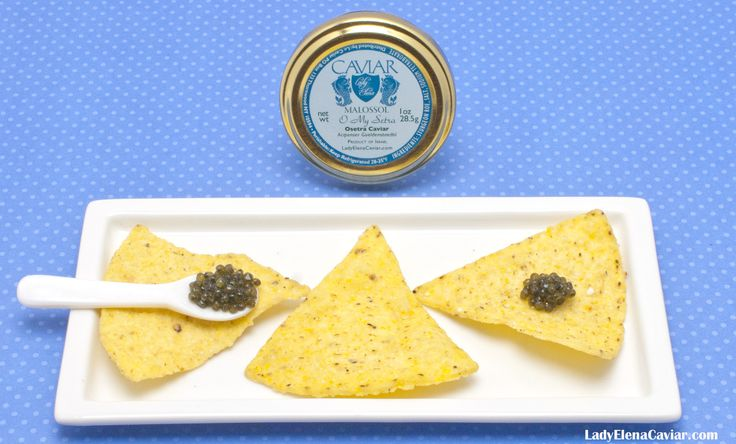 Osetra Caviar from Ladye Elena Caviar on a Nacho chip. No champagne required.