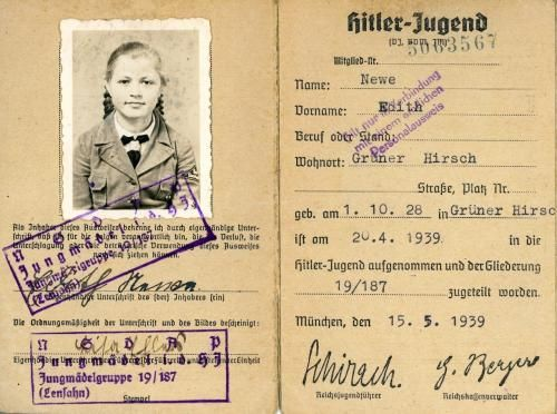 On Hitler's birthday, 10 year old Edith News was initiated into the Hitler youth. She would have had to have her card checked and stamped eery six months to endure her membership.