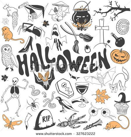 Halloween symbols vector set. Draw flat llustration icon collection isolated on a white background.