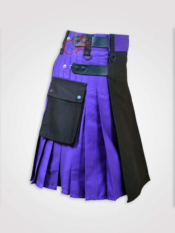 Black and Blue Double Tone kilt with Leather Straps http://dkilts.com/product-category/kilts-for-men/hybrid-tactical-kilts/