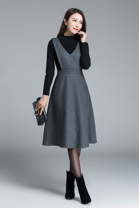 Midi wool dress, knee length dress, dark grey dress, dress with pockets, high waisted dress, casual dress, winter dress for woman 1645