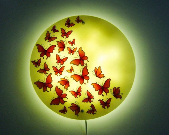 Butterfly Wall Lamp Large wall light Orange wall lamp Hand