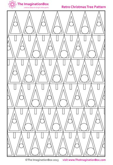 The Imagination Box, Retro christmas Tree Pattern free download colouring activity