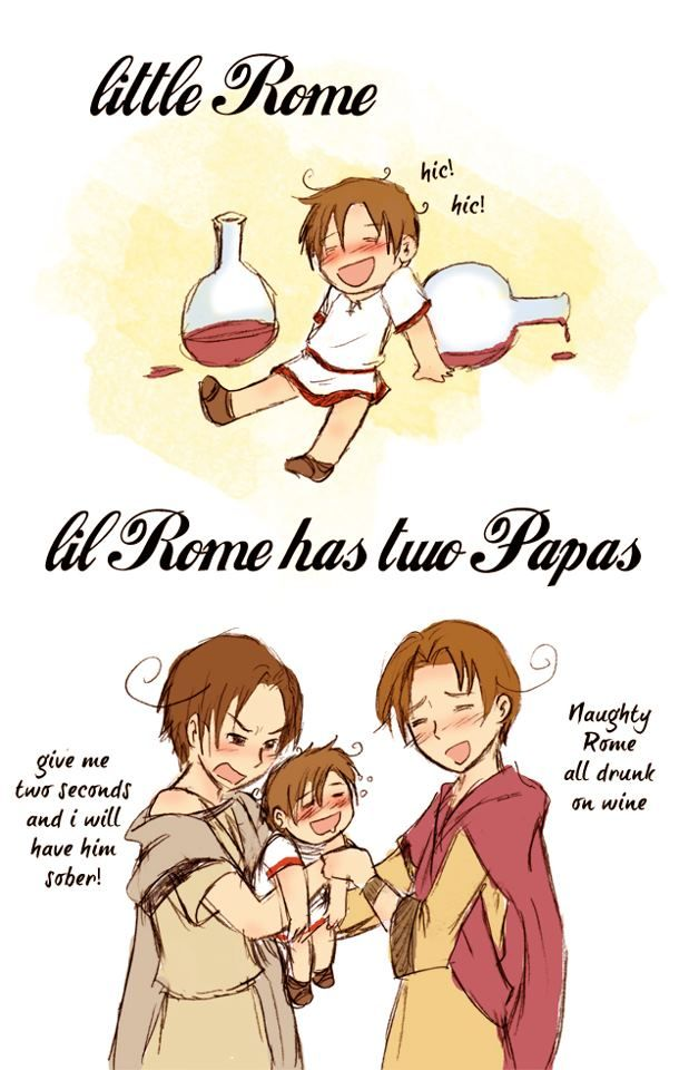 Hetalia Role-reversal - Little Rome and Papa Romano and Italy