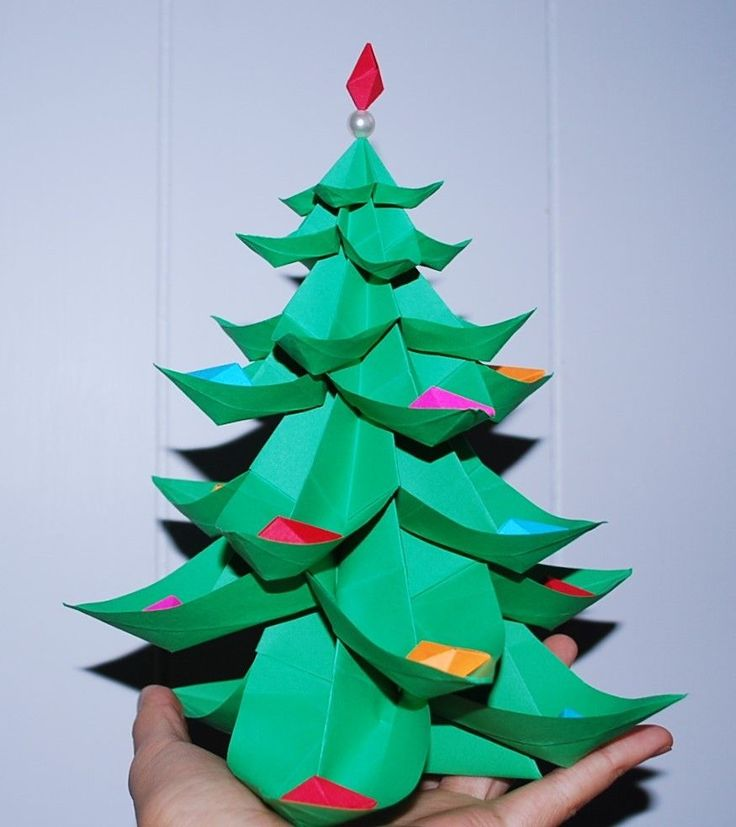 Christmas tree Origami paper diamond Ornament gift