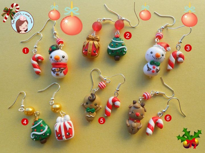 Clay Christmas earrings!