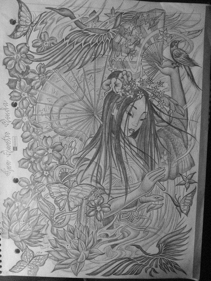 Geisha con pájaros y flor de Loto para tattoo