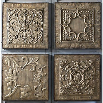 Embossed metal is lightly washed with brown stain to capture the look of antiquity. Metal frame; distressed, brown painted finish.
