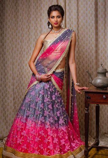 Ash and pink net langa voni