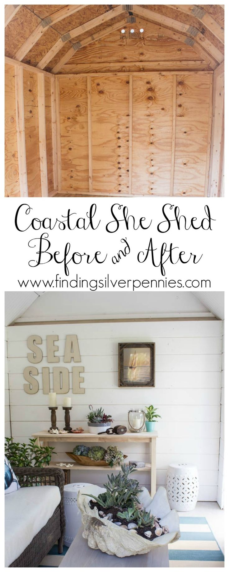 Interior of Coastal She Shed Before and After with @homedepot #sponsored