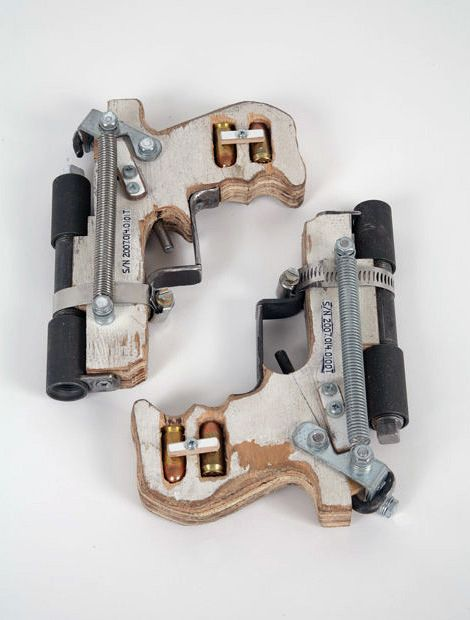 Sweet!  I need to make some of these.  Could probably do it with scrap wood and a $25 trip to the hardware store. --Tom Sachs: Handmade Hand Guns