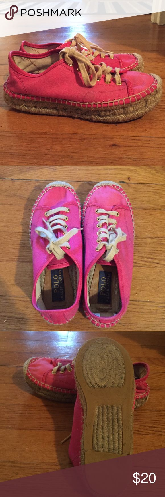 ✨SALE✨ • POLO RALPH LAUREN • espadrille sneakers Gently worn Polo espadrille sneakers. Pink, size says 7 (or 37 in European size) but fits like a US 6.5! Bought in Europe, made in Spain. Still in great condition! Polo by Ralph Lauren Shoes Espadrilles