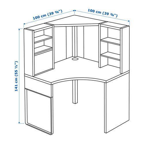 MICKE Corner workstation, black-brown black-brown 39 3/8x55 1/2