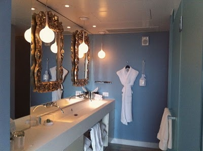 cool idea frames on top of mirror w hotel bathroom inspiration - Beaded Inset Hotel Decoration